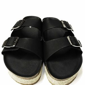 BLACK SANDALS ( FAUX LEATHER)